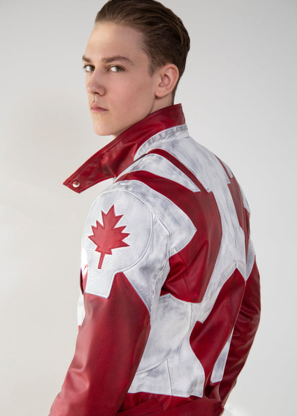 Mens Captain Canuck Comic Red White Leather Jacket
