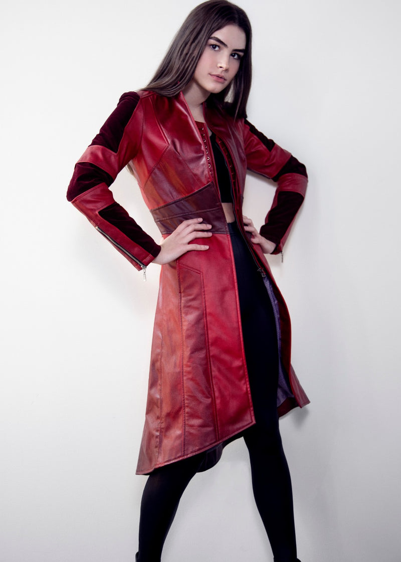 Womens Scarlet Witch Red Leather Trench Coat Red trench coat women