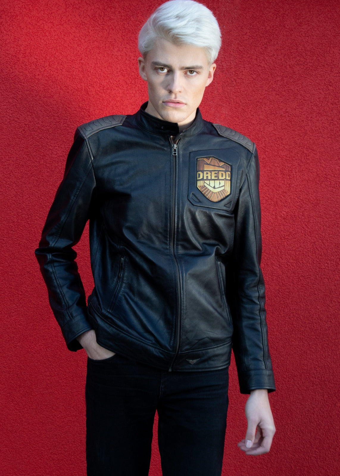 Mens Judge Dredd Black Leather Jacket