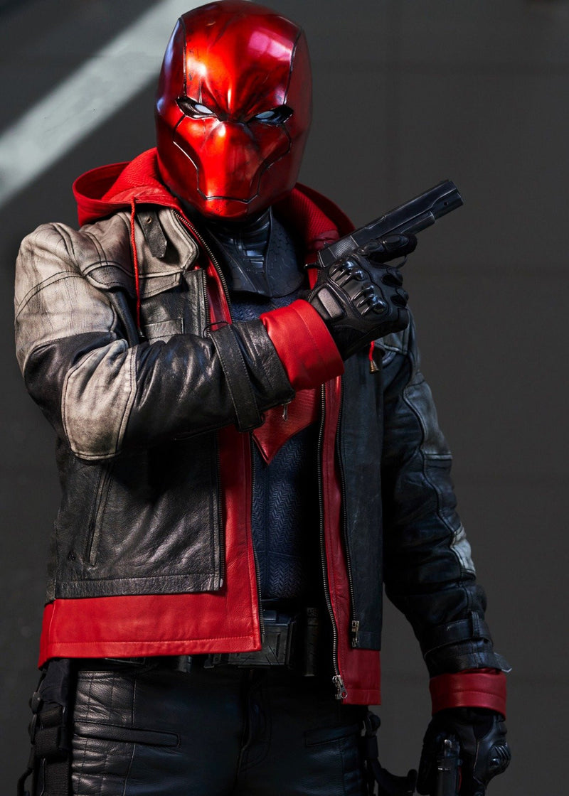 Mens Red Hood Leather Jacket