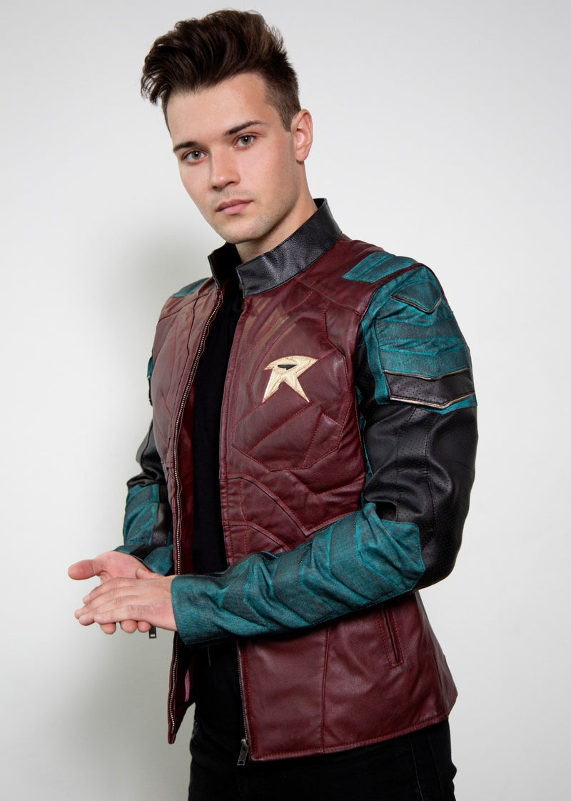 Batman and Robin Green Red Leather Jacket Costume Cosplay Titans Game