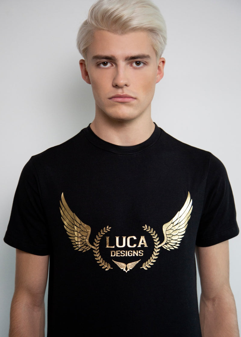 Luca Designs Black & Gold Logo Graphic T-Shirt