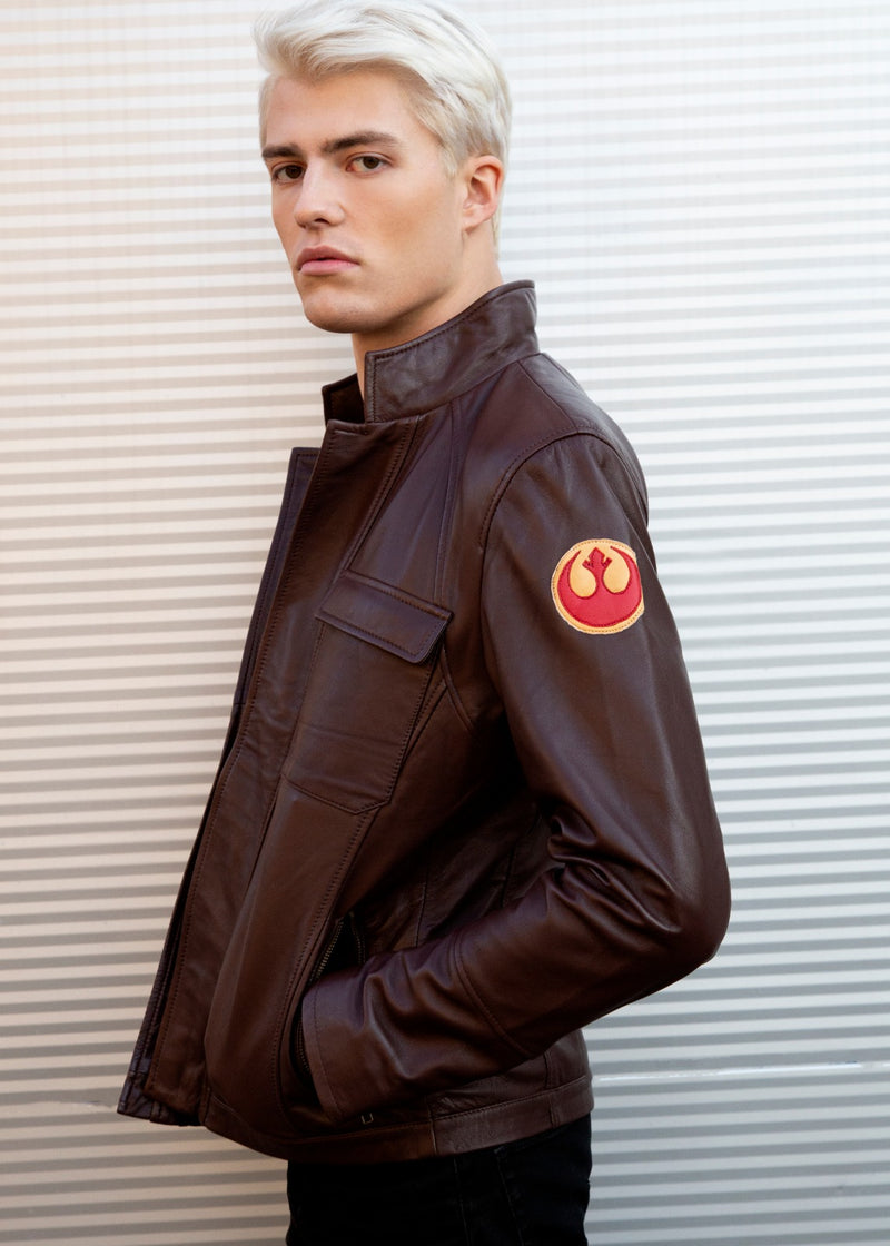 Star Wars Rebel Alliance Leather Jacket Replica Brown Official Disney logo