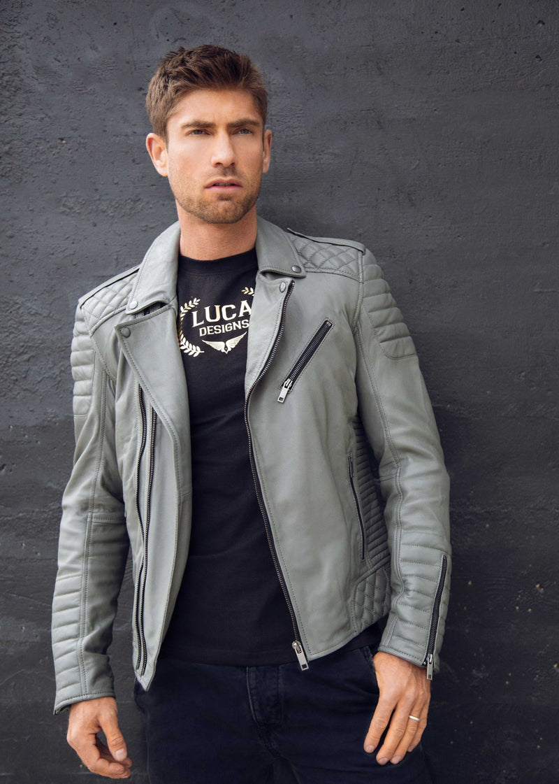 Mens Bright Grey Quilted Biker Leather Motorcycle Jacket Gray