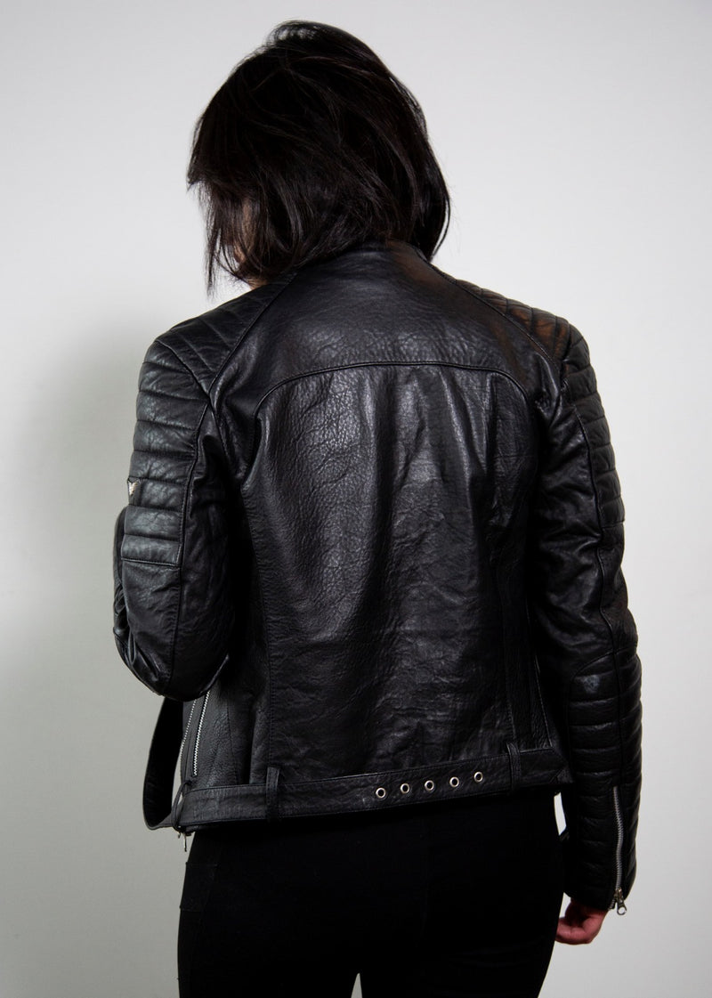 Womens Balmain Biker Leather Motorcycle Jacket Black