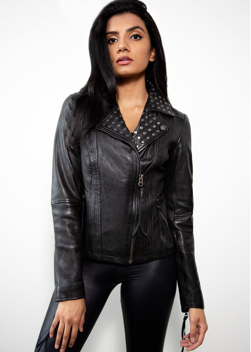 Womens Studded Black Moto Leather Jacket Studs on Collar