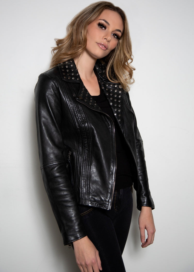 Womens Studded Black Motorcycle Leather Jacket