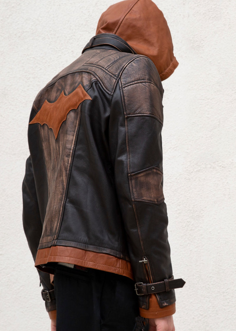 Mens Arkham Knight Jason Todd Brown Hood Leather Jacket