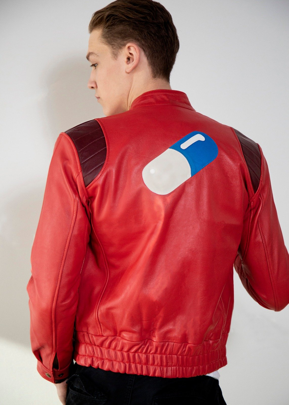 Mens Akira Kaneda Leather Jacket Red Pill Manga Motorcycle
