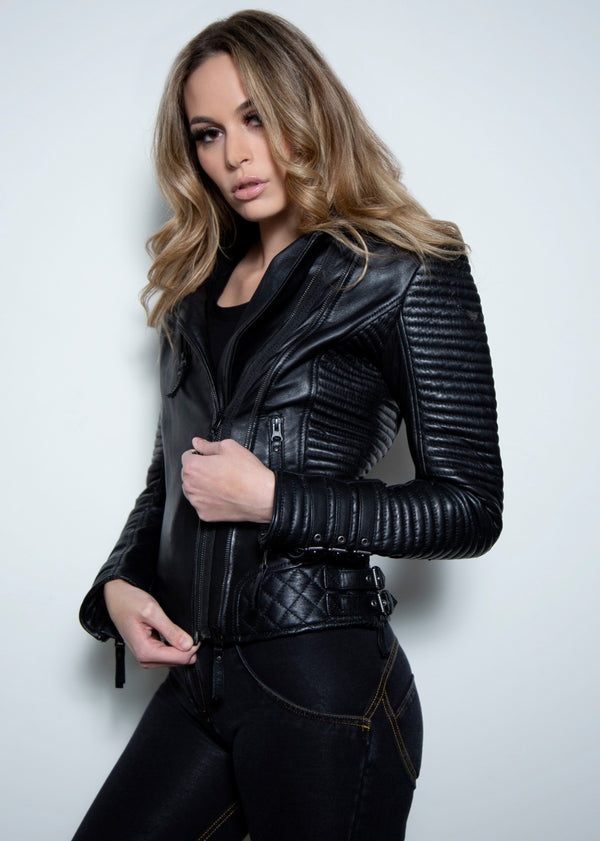 Womens Quilted Leather Jacket Black New Moto