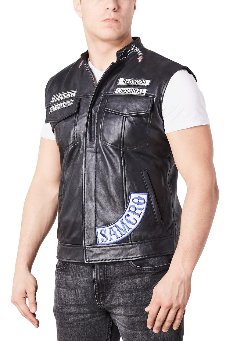 Buy Mens Soa Sons Of Anarchy Leather Motorcycle President Jacket Vest Jacket Luca Designs