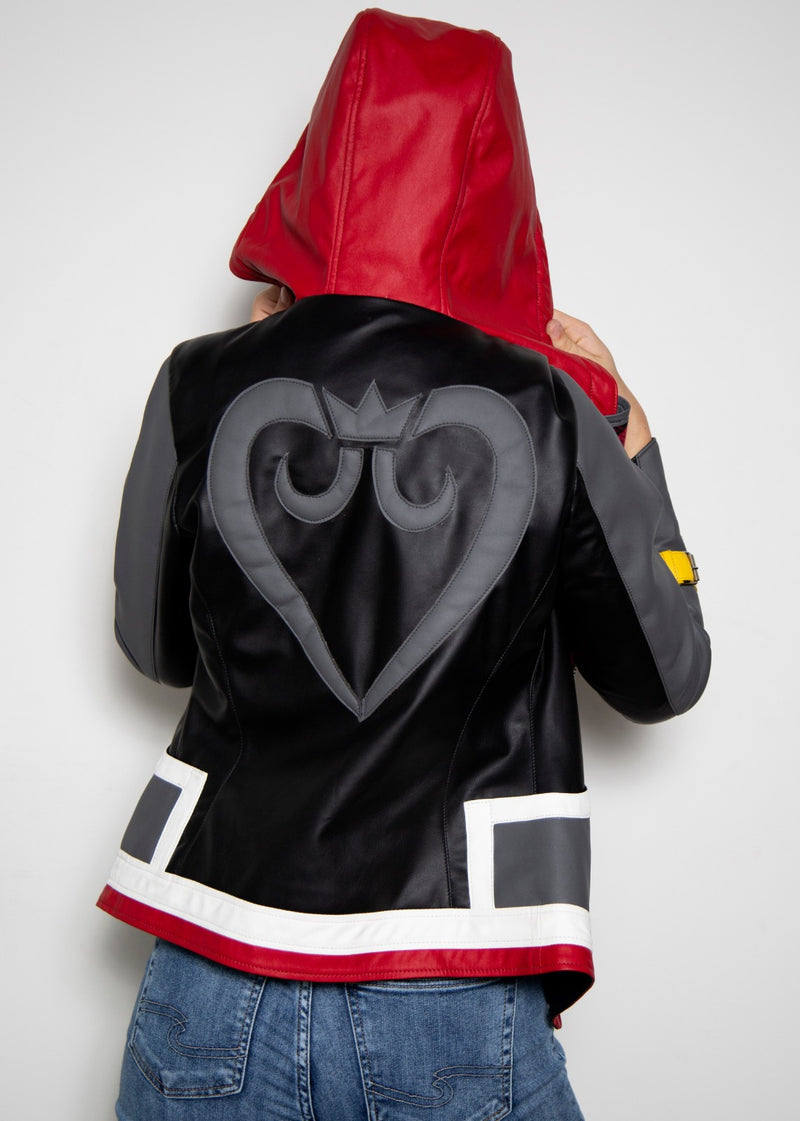 Womens  Sora Kingdom Hearts 3 Game Leather Jacket Black Red Disney Gray