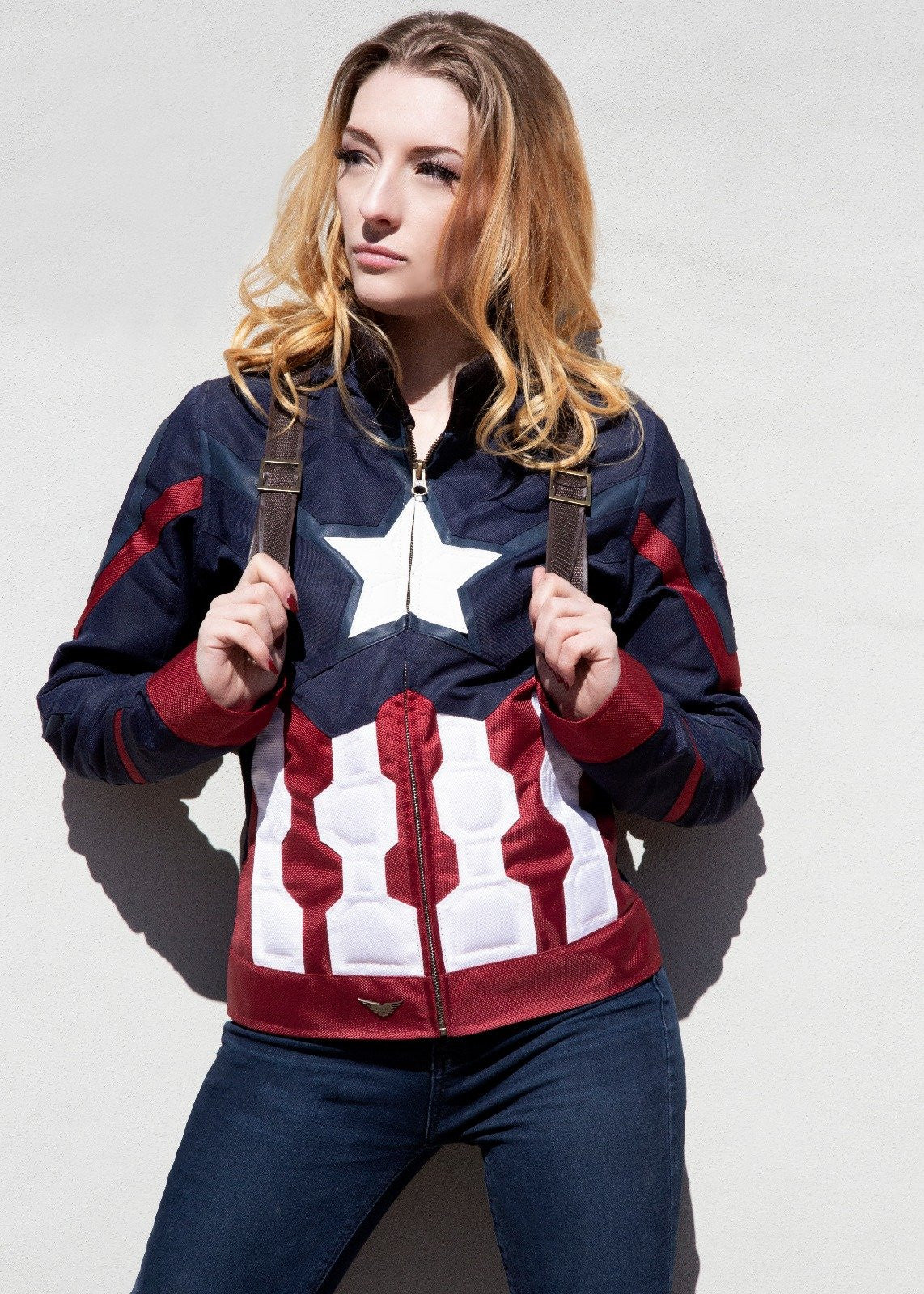 Womens Captain America Civil War Leather Textile Jacket