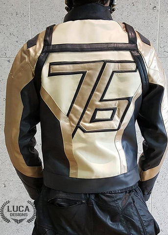 Mens Soldier 76 Leather Jacket Gold