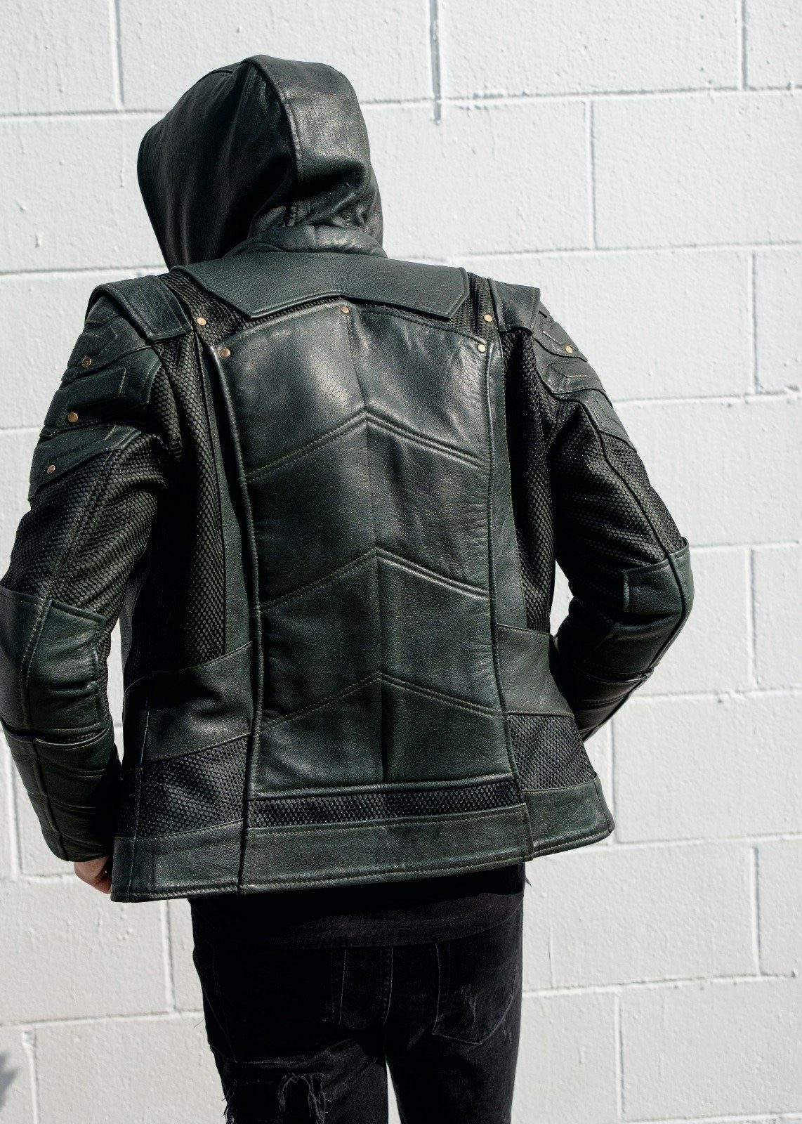 Mens Green Arrow Leather Jacket