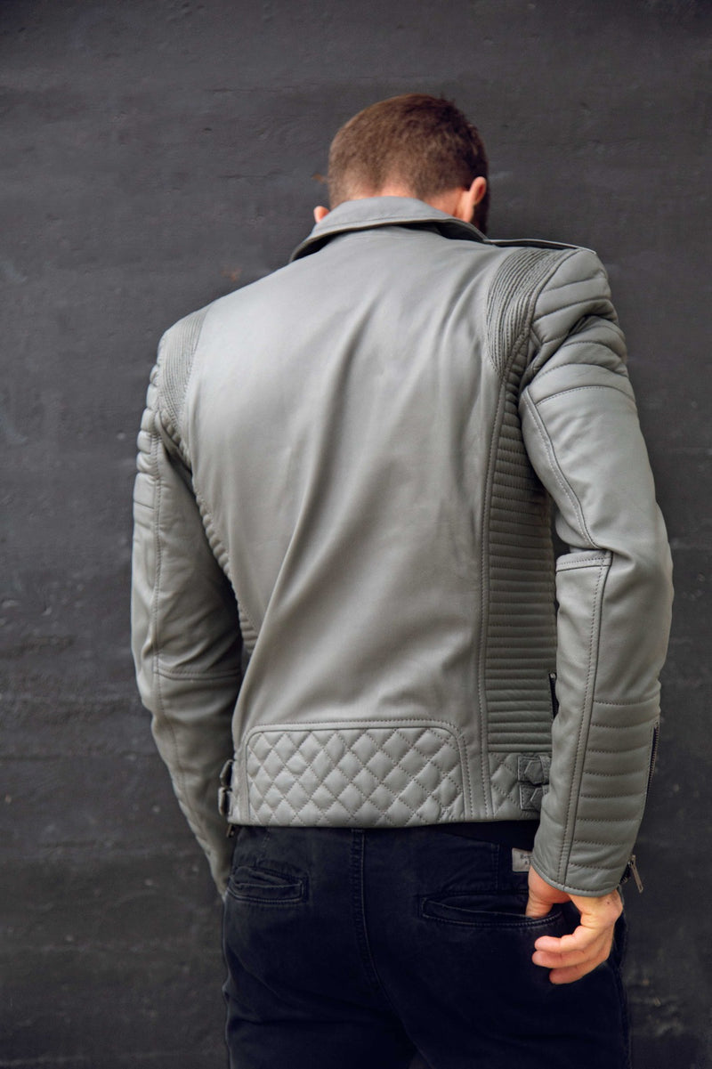 Mens Bright Grey Quilted Biker Leather Motorcycle Jacket Gray Back