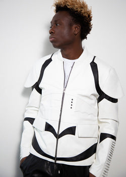 Mens Star Wars StormTrooper Leather Jacket Hoodie White