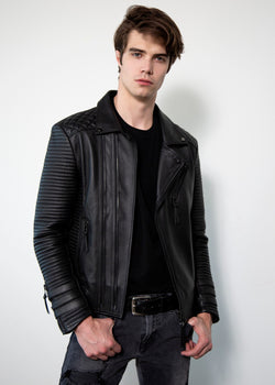 Mens Hawthorne Black Quilted Leather Jacket