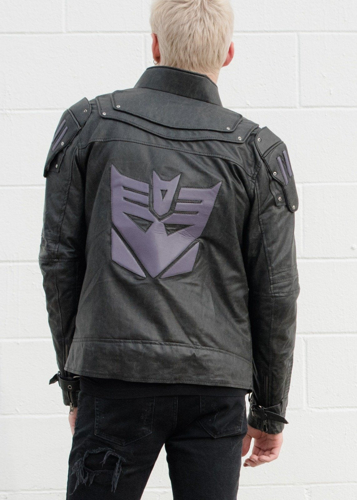Mens Transformers Decepticon Shield Leather Jacket Black Armor