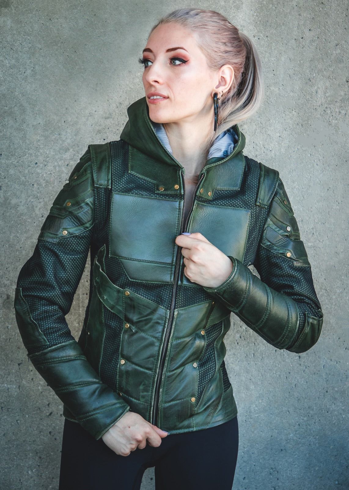 Womens Green Arrow Stephen Amell Leather Jacket