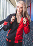 Womens Harley Quinn Leather Jacket Black and Red