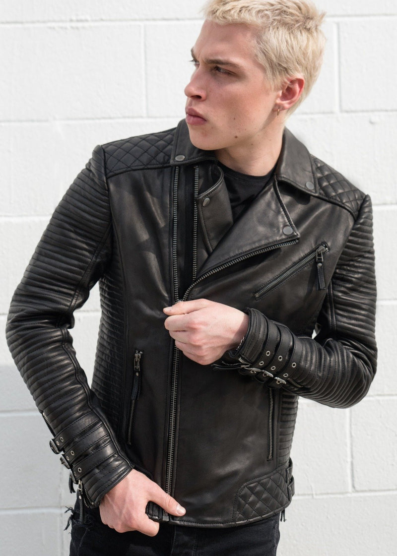 Mens Heights Leather Jacket Black Motorcycle Hawthorne