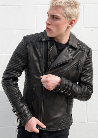 Mens Hawthorne Heights Leather Jacket Black