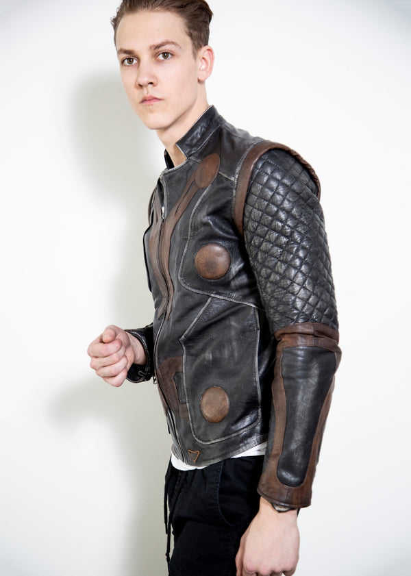 Mens Thor Black Vintage Quilted Leather Motorcycle Jacket