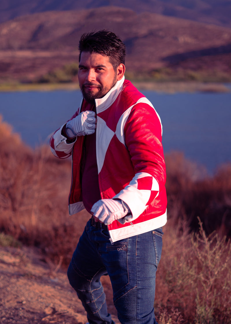Mens Power Rangers Classic Leather Jacket Red Blue Black