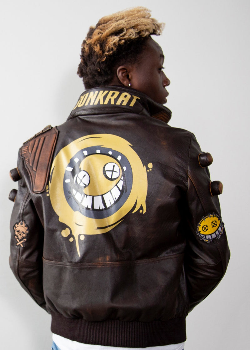 Mens Overwatch Junkrat Leather Jacket Cyberpunk 2077