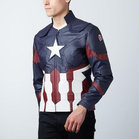 Mens Captain America Leather Jacket Avengers Age of Ultron