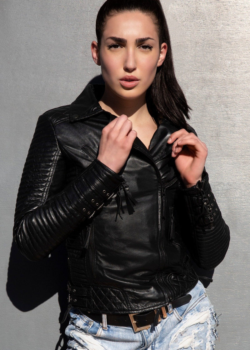 Womens Quilted Motorcycle Biker Leather Jacket Black