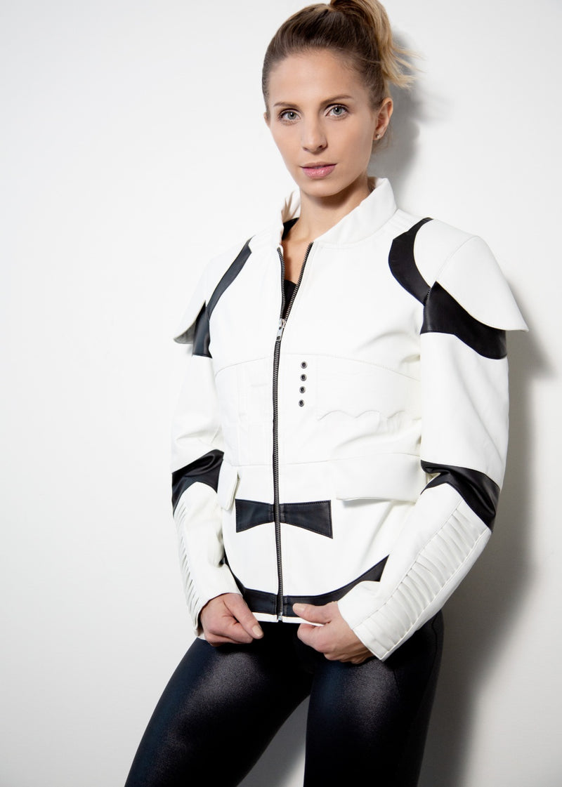 Womens Storm Trooper Leather Jacket White Black