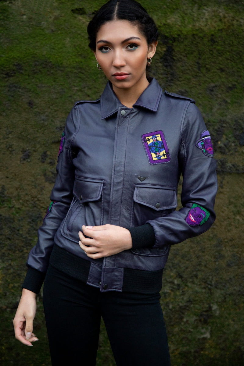 Womens DC Comics Joker Leather Jacket Purple