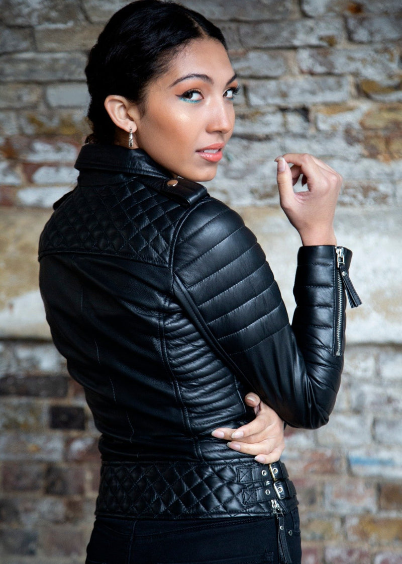 Womens Quilted Leather Motorcycle Jacket Back