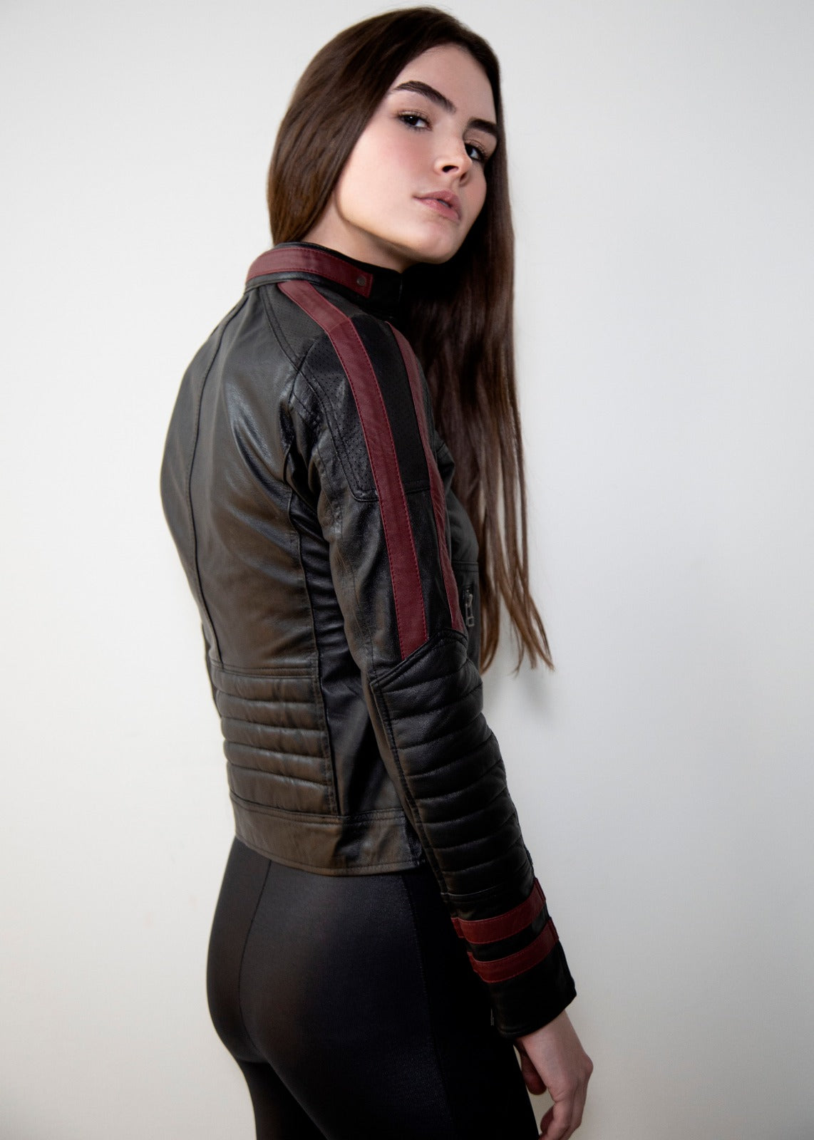 Womens N7 Mass Effect Black Leather Jacket Hoodie
