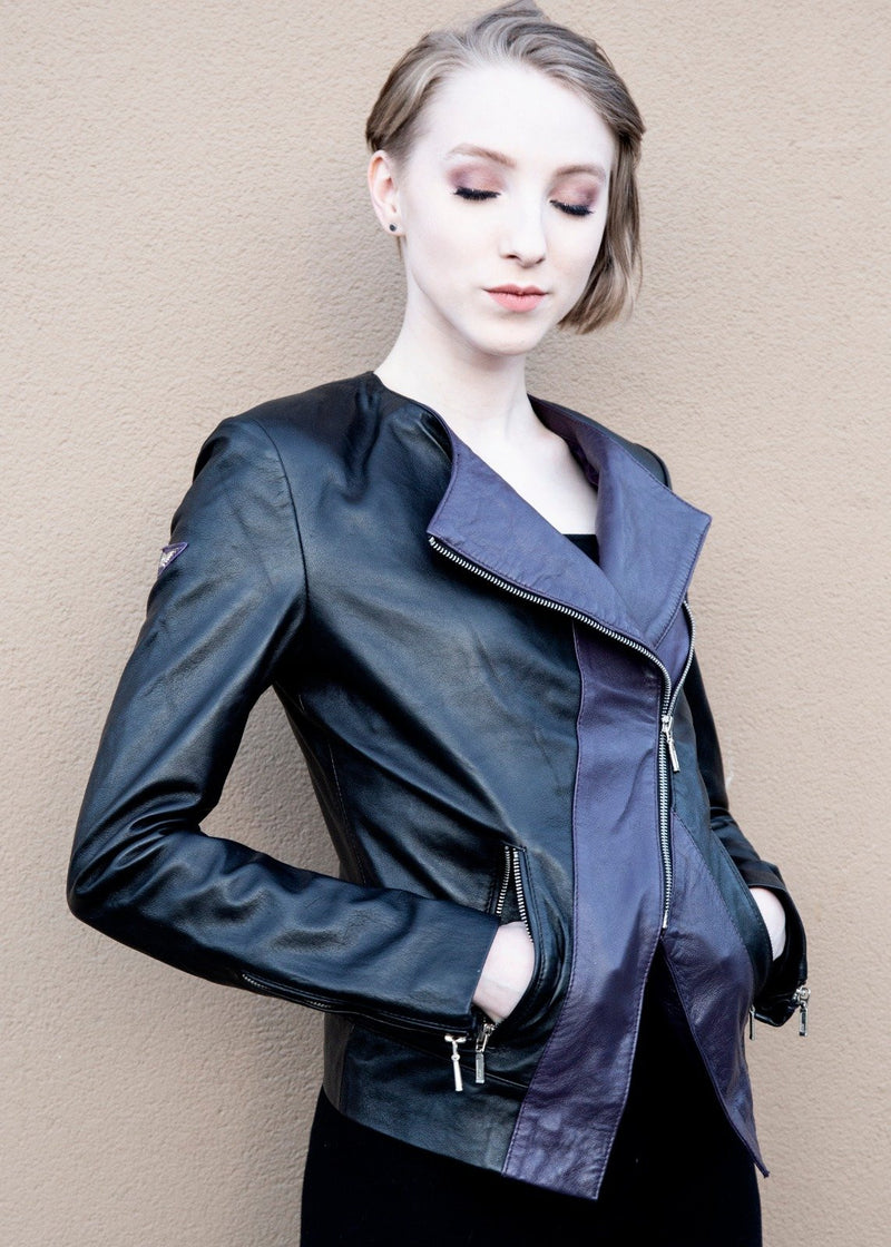 Womens Overwatch Sombra Leather Jacket Hoodie Asymmetrical
