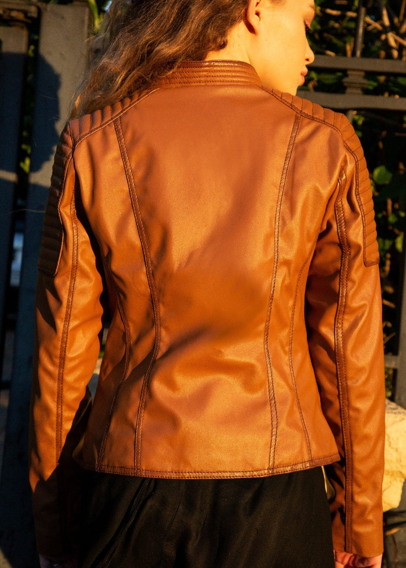 Womens Quilted Leather Motorcycle Jacket Light Brown