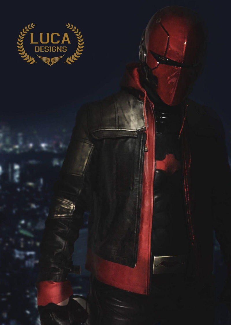Mens Arkham Knight Jason Todd Red Hood Leather Jacket