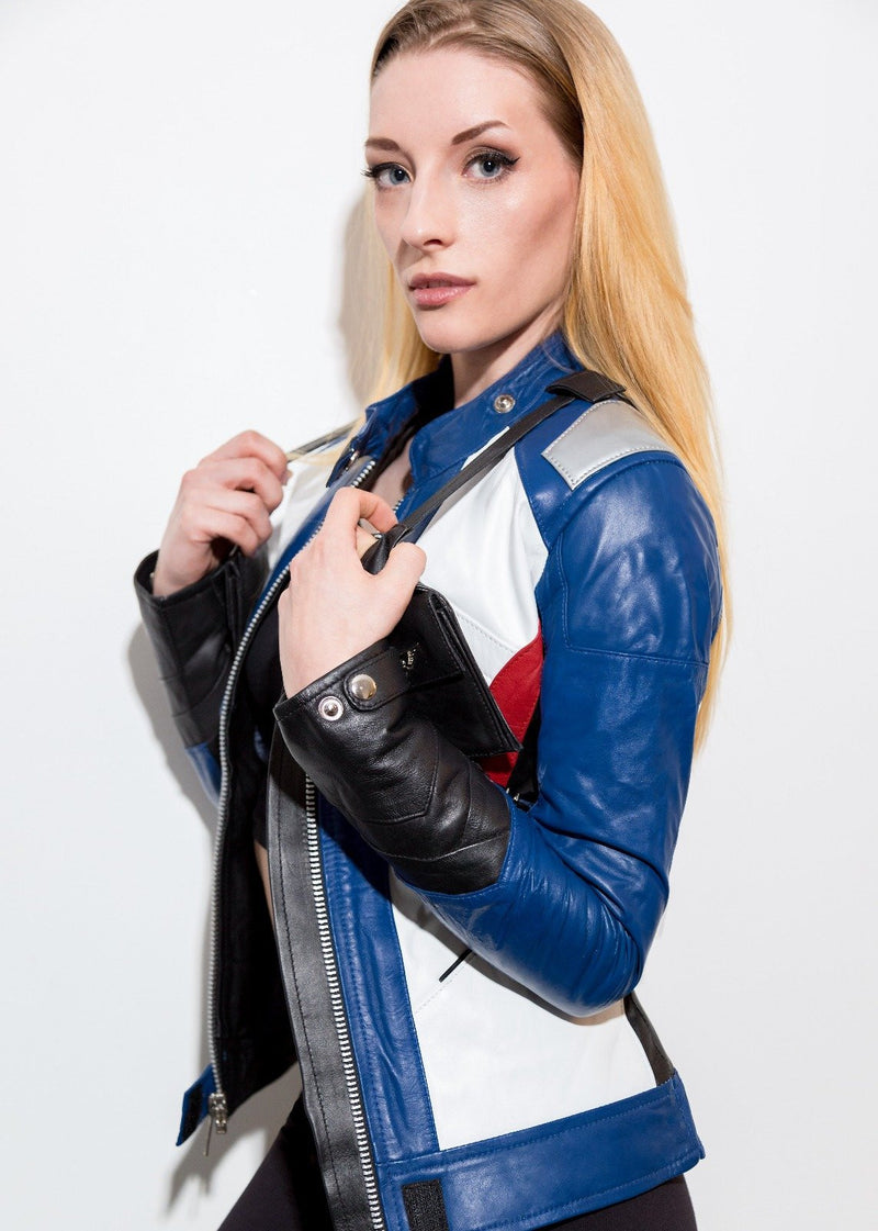 Women Soldier 76 Leather Jacket Blue Overwatch Cosplay Motocross Outerwear Luca Designs