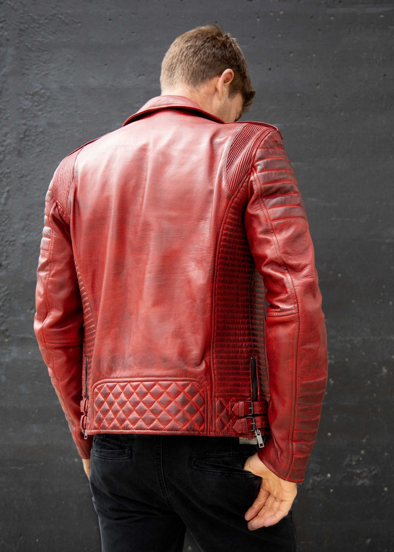 Mens Red Quilted Biker Leather Motorcycle Jacket