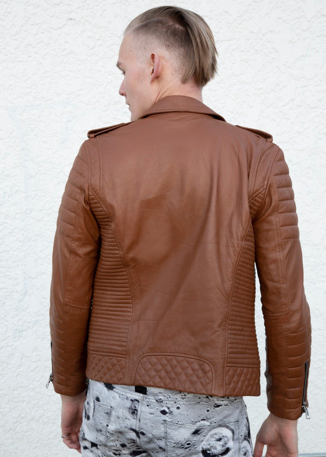 Mens Quilted Leather Motorcycle Jacket Caramel Brown