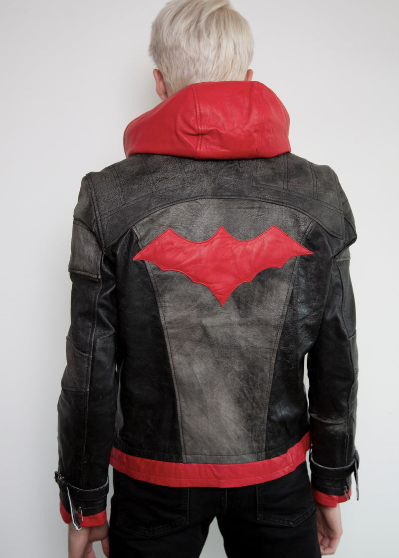 Mens Buy Red Hood Leather Jacket Arkham Knight Jason Todd
