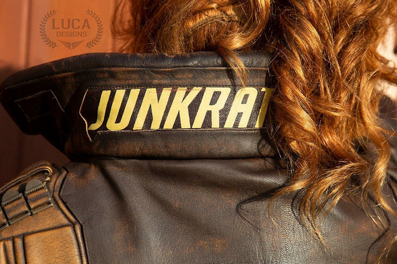 Overwatch Womens Junkrat Leather Jacket Back Text