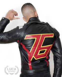Mens Overwatch Game Soldier 76 Leather Jacket Black