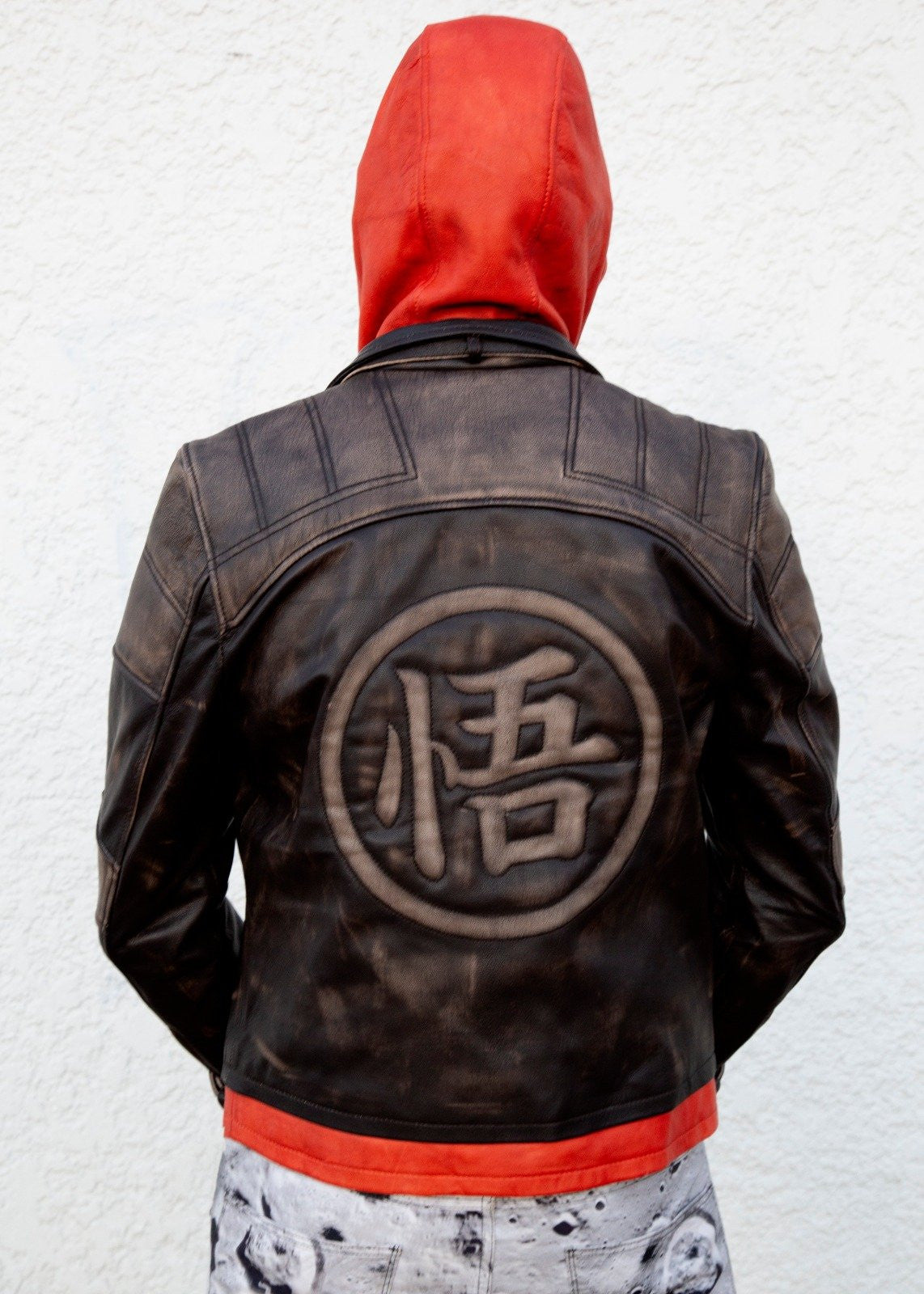 Buy Mens Goku Kanji Orange Brown Leather Jacket by Luca Designs