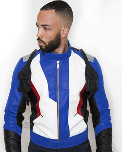 Mens Overwatch Game Soldier 76 Leather Jacket Blue