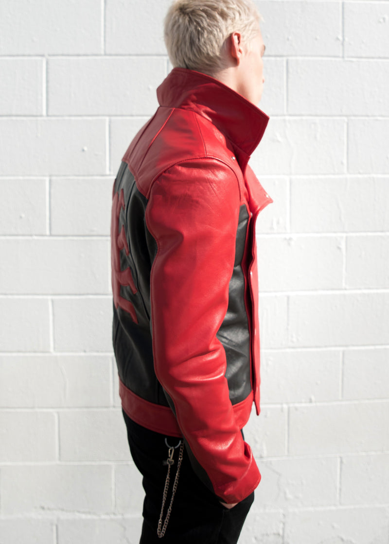 Mens Spider-Man Last Stand Leather Jacket Black & Red
