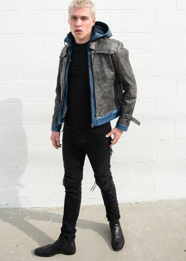 Mens Nightwing Leather Jacket Blue Eagle