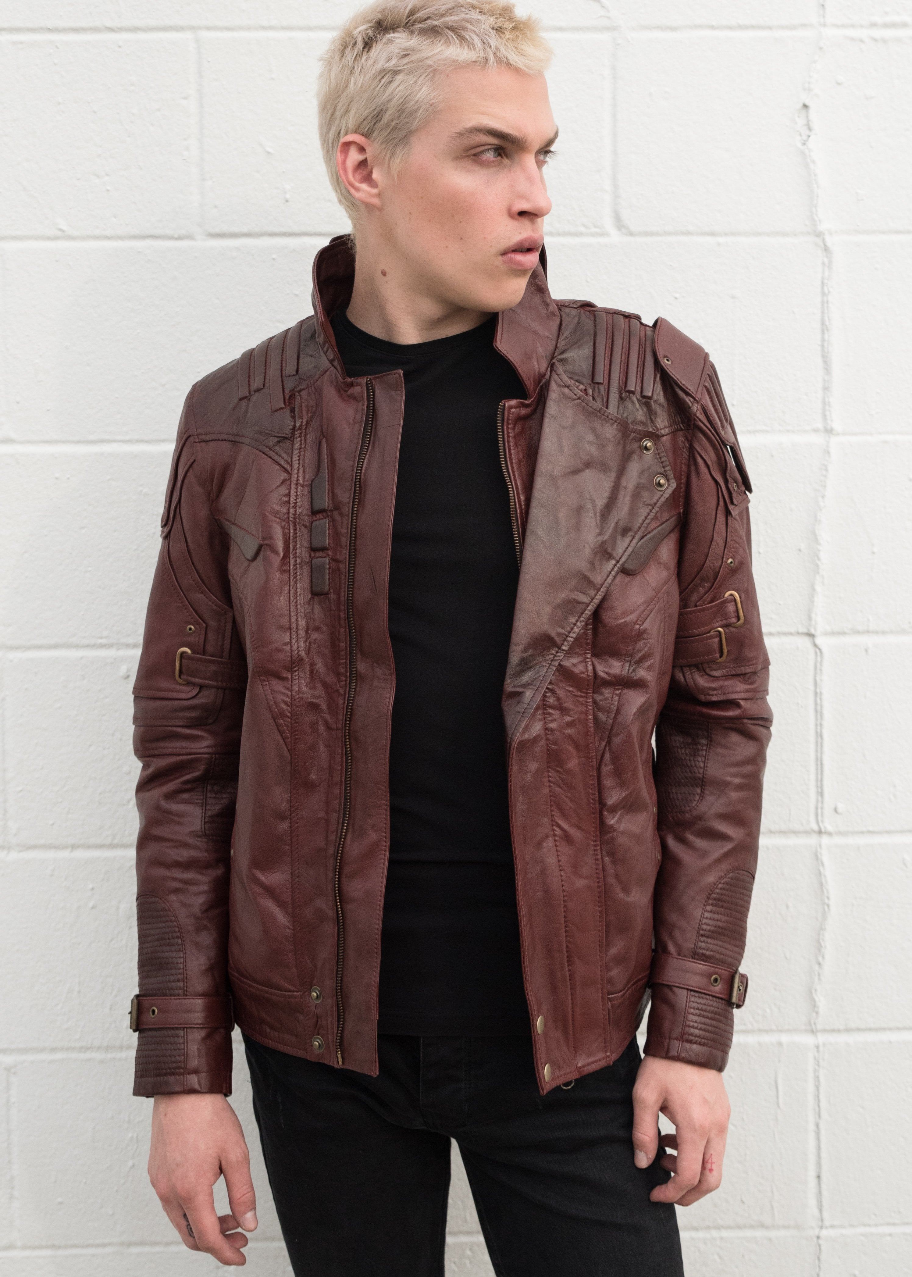 Men's Star Lord Guardians of The Galaxy Red Leather Jacket